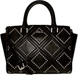 Michael Kors Selma Medium Diamond Grommet Leather Satchel - Black - 30F6ADXS2L-001