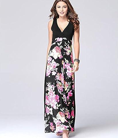 YCMDM Femmes 2017 Summer Printing Deep V robe sans manches jupe longue qualité de fabrication , suit , xl