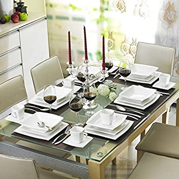 MALACASA, Series Blance, 60-Piece Dinner Sets Ivory White Porcelain Dinnerware Set with 12 x Dinner Plate/Dessert Plate/Soup Plate/Cup/Saucer, Service for 12, Ideal Gift for Wedding New House Party