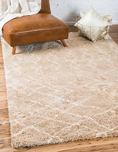 Moderne abstrakte tribal Plüsch Marrakesch Shag modernes Bereich Teppich, taupe, 8 x 10 (Bereich 8x10 Taupe)