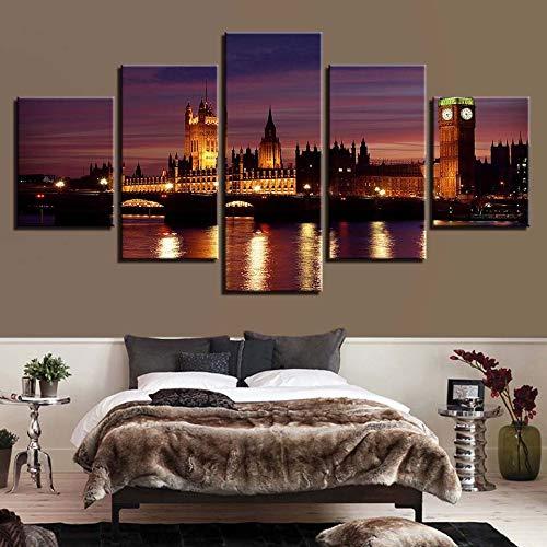 rbeiten Dekor Wohnzimmer Wand 5 Stücke Alte Burg HD Drucke Nacht Landschaft Leinwand Bilder Modularen s ()