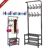 Popamazing Black/White/Pink Metal Coat Clothes Shoes Hat Umbrella Bag Steel Pipe Stand Rack Hanger Hooks Shelf (Black)