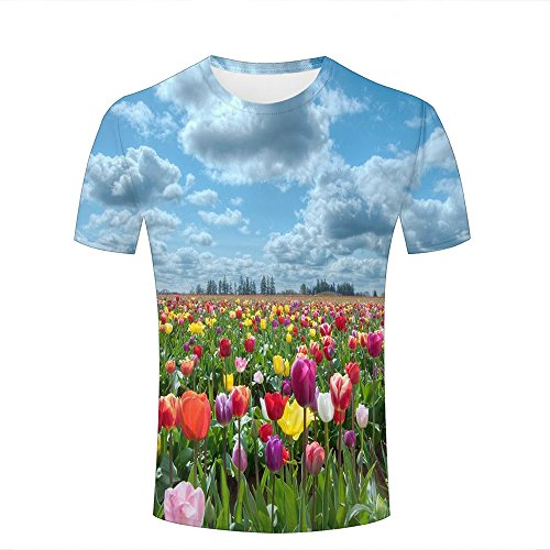 JINGTEE 3D Tshirts Men Colorful Tulip Festival Casual Graphics Tees XXXL -