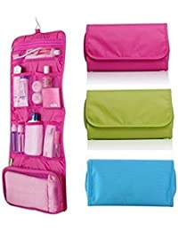 Glive's Multi Utility Folding Wall Hanging Cosmetic Bag Bathroom 5 Pocket Polyester Toiletry Storage Bag Cosmetic...