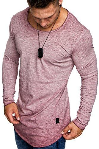 Amaci&Sons Oversize Herren Vintage Longsleeve Verwaschen Crew Neck Sweatshirt Rundhals Basic Shirt 6070 Bordeaux XL -