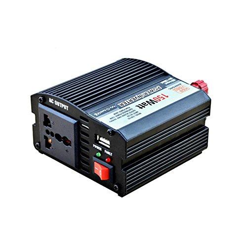Convertisseur BQ Inverseur de puissance 150 W DC 12V à AC 220V Transformateur tension de voiture Briquet de cigarette Chargeur de voiture USB (noir)