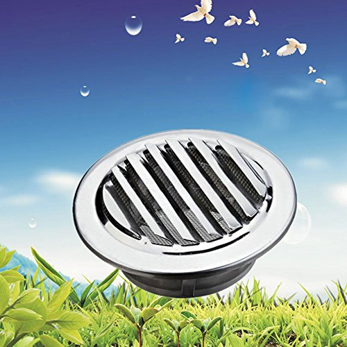 Kreis Edelstahl Belüftung Belüftung Grille mit Flansch Insekt Schutz (80mm) - 80mm