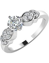 IskiUski White Gold And American Diamond Ring For Women - B075VHDHB2