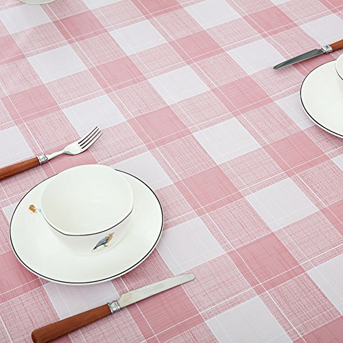 Unbekannt PVC Waterproof Table Cover Check, Rectangle Plastic Wipeable Table Cloth Protector Anti-scalding Oil-Proof Dining Coffee Table-pink 120x170cm(47x67inch) -