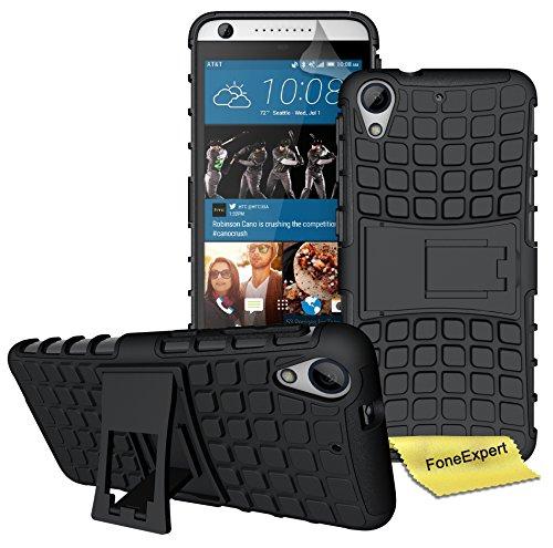 FoneExpert® HTC Desire 626 626G Handy Tasche, Hülle Abdeckung Cover schutzhülle Tough Strong Rugged Shock Proof Heavy Duty Case für HTC Desire 626 626G + Displayschutzfolie (Schwarz)