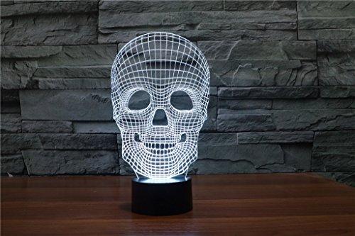 HYSENM Lampe Nachtlampe Nachtlicht LED 3D Acryl cool für Kinder Jungen-Serie, Totenkopf