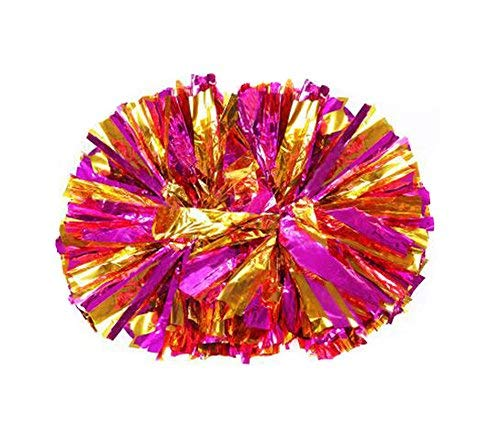 Kunststoff-Pompoms im Cheerleader-Look, für Sport, Partys, Kostüme, Metallfolie & Kunststoffring für Cheerleader, 2 Stück, Rose Red+Gold (Gold Cheerleader Kostüm)