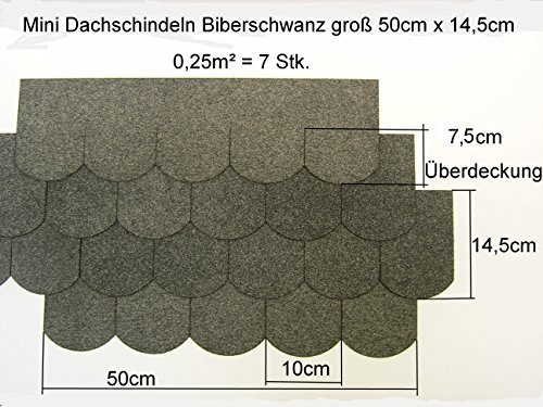 "Mini - Dachschindeln Biberschwanz (100 mm) - Grau "" 23.419 """
