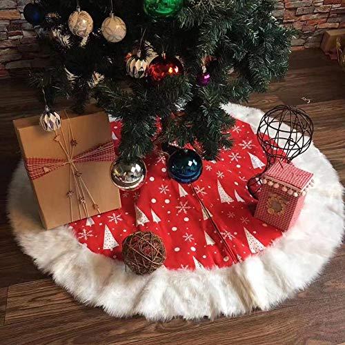 WeeH Weihnachtsbaum-Rock mit Kunstfell, Weihnachtsbaum-Matte, Vintage, Runder Kunstteppich, Heimdekoration 50 inch Christmas Red and White