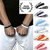 Aura Design Armband für Damen & Herren   Armbänder in Verschiedenen Farben   Sportarmband   Silikonarmband   Fitness Armband   4 Armbänder (Schwarz & Weiß)