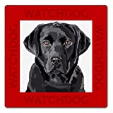 WATCH4DOGZ Labrador Retriever Noir, Panneau Plaque Chien de Garde 22 x 22 cm...