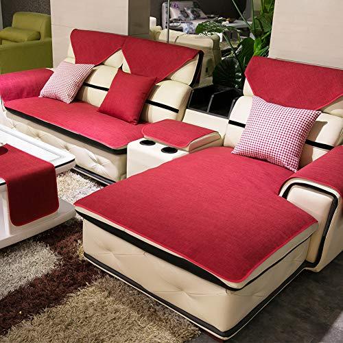DW&HX Multi-Size Sofa Decken,Couch-Protector für Hund Schmutzabweisend Sofa Handtuch Sectional Sofa Deckel -rot 35x35inch(90x90cm) -