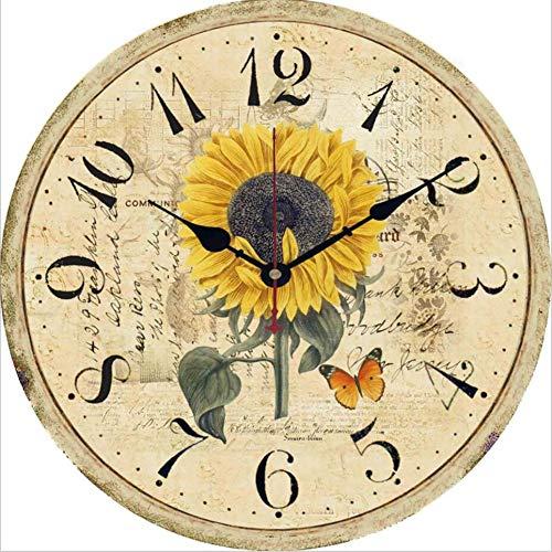 HG-JIAJUⓇ Wanduhr Shabby Vintage-Stil Chic Floral Patchwork Uhr Für Wohnzimmer Schlafzimmer Und Küche Holz Geräuschlose Stumm Wanduhr Ohne Tick Tack Geräusch - Durchmesser: 30 cm,I