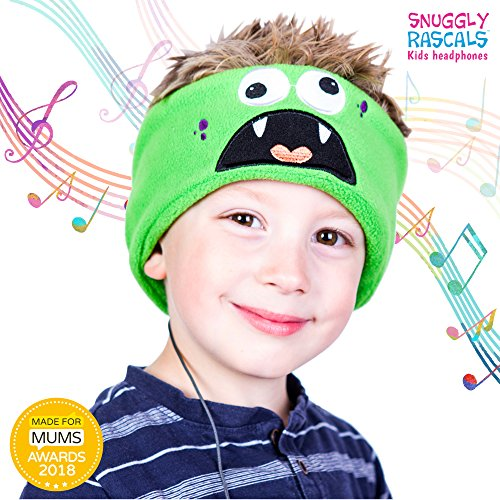 Snuggly Rascals (v.2) Auriculares para niños, muy cómodos, de tamaño ajustable y de volumen limitado; ideal para viajes y uso de tablets y smartphones para niños. Adecuado para niñas y niños. Modelo de algodón. - Monstruo