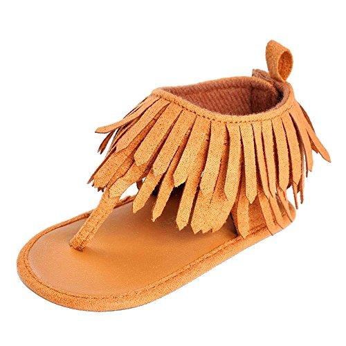 Preisvergleich Produktbild Vovotrade Baby Säuglingsmädchen Jungen weiche alleinige Krippe Kleinkind Troddel Sandelholz Schuhe (11.8CM, Braun)