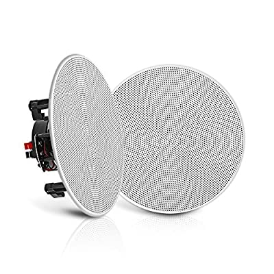 """Pyle Pair 5.25"""" Flush Mount In-wall In-ceiling 2-Way Speaker System Spring Loaded Quick Connections Changeable Round/Square Grill Stereo Sound Polypropylene Cone Polymer Tweeter 150 Watts (PDIC1656) by Pyle"""