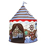 La tenda castello giocattolo Homfu per bambini con fantasia vichingo è un bellissimo regalo per compleanni e feste di neonati, bambini e bambine, anche a Natale e Capodanno, per farli giocare e divertire. Specifiche:Materiale: Tessuto Poliest...