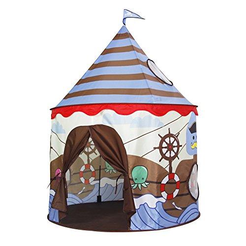 Homfu Kinder Spiel-Zelt für Jungen Mädchen draußen Camping Reisen Kinder Spiel-Zelt mit Pop-up Design Krabbel Tunnel (braun hd)