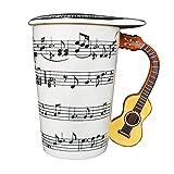 Giftgarden Tasse Weiß Kaffeetasse Lustig Teetasse Espresso mit gelber Gitarre-Griff, 0,4L