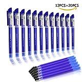 BBLIKE 12 bolígrafos de punta de bolígrafo de punta redonda de 0,5 mm (azul)