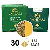 Foglie di tè verde Camomilla Mint Citrus - 15 bustine di tè a foglia lunga (confezione da 2) - 100% disintossicante e tè dimagrante, camomilla, buccia d'arancia, menta e menta romana, dall'India