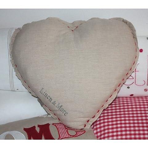 Coussin de cœur Home Beige/rouge cœur Coussin Linen & More 52x 48cm