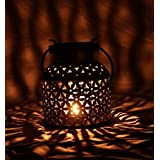 ADA Craft Traditional Rajasthani Handicraft Unique Metal Tealight Candle Holder Bucket Decorative Showpiece Item (14 Cm X 14 Cm X 18 Cm) Lalten.
