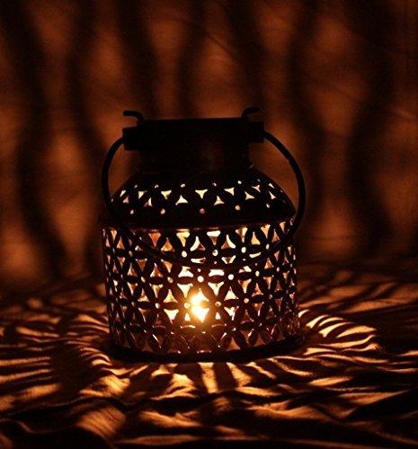 ADA Craft Traditional Rajasthani Handicraft Unique Metal Tealight Candle Holder Bucket Decorative Showpiece Item (14 Cm X 14 Cm X 18 Cm) Lalten.