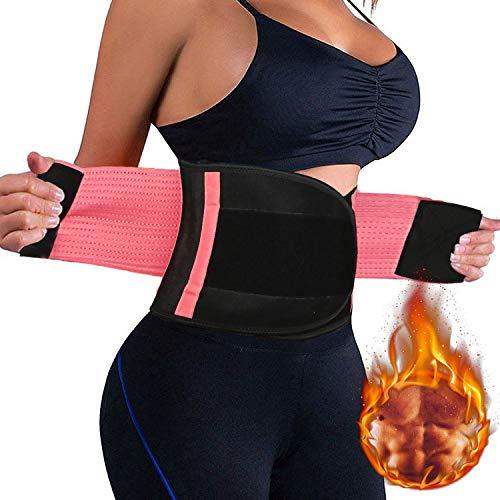 Bearbro Bauchweggürtel Bauchgürtel, Taille Trimmer Sport Powergürtel Waisttrainer,Schwitzgürtel,Bauchgurt für Damen Korsett Gürtel Fitnessgürtel (Rosa)