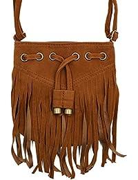 Aisa Girls Fuax Leather Tassel Shoulder Bag Fringe Messenger Bag Crossbody Bag Fashion Purse (Color Coffee)