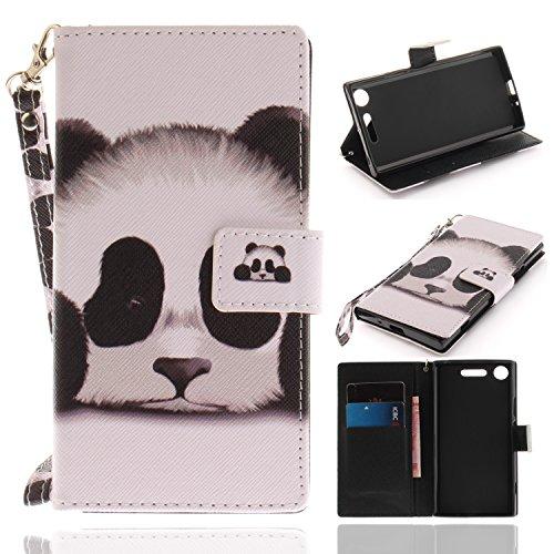 Xperia XZ1 Hülle, Sony Xperia XZ1 Hülle, Klassikaline® PU Leder Flip Brieftasche / Wallet / Case / Tasche / Cover / Handytasche / Handy Zubehör / Lederhülle / Handyhülle mit Bookstyle mit Standfunktion Kredit Kartenfach Schutzhülle für Sony Xperia XZ1 (5,2 Zoll) - Panda