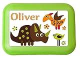 wolga-kreativ Brotdose Lunchbox mit Name Dino und Wunschmotiv mit Trennsteg Viele Motive