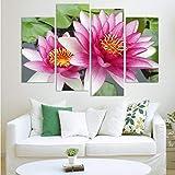 Chen Hao International Sales Store Wandbilder 4 Panel Wandkunst Bilder Botanischen Roten Feng Shui rosa Lotus Ölgemälde Auf Leinwand Das Bild Für Wohnzimmer Dekoration-40x80cm40x100cm