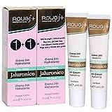 Rougj - Crema Viso 24h Idratante con Acido Jaluronico per Pelle Secca - 2 x 40 ml | Confezione doppia con 2 tubetti da 40 ml