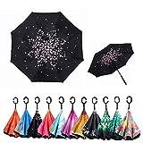 Parapluie inversé - Parapluies inversés à double couche avec poignée en forme de C, protection UV pour femmes au soleil, ou maintien de la voiture au sec par temps de pluie