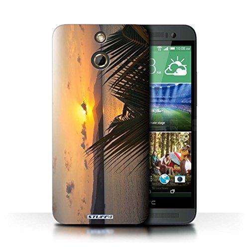 Kobalt® Imprimé Etui / Coque pour HTC One/1 E8 / Bateau de pêche conception / Série Coucher du Soleil palmiers
