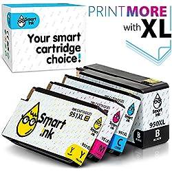 Smart Ink Compatible Remplacement des Cartouches d'encre pour HP 950XL 951XL 950 XL 951 XL High Yield 4 Pack (Black & C/M/Y) pour HP Officejet 8100 8600 8610 8620 8630 8640 8660 8615 8625 251DW 276DW