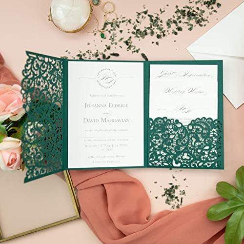 Apribile taglio laser inviti matrimonio fai da te partecipazioni matrimonio bosco carta con busta - campione prestampato!!
