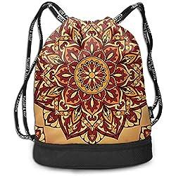 ewtretr Bolsos De Gimnasio, Bright Medieval Ornament Drawstring Backpack Bags Shoulder Cinch Storage Bag for Traveling Hiking