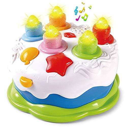 Pretend Geburtstagskuchen für Kinder, Babys, Kleinkinder, mit Zählkerzen und Musik, für 1/2 / 3/4 / 5 Jahre - Beliebte Kochgeschirr