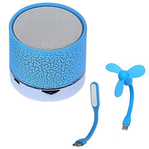 Wireless LED Bluetooth Speakers S10 Handfree with Calling Functions & FM Radio with Portable USB Fan and Flexible USB LED Light Lamp