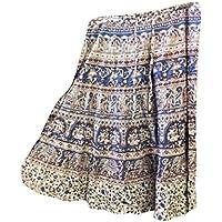 Mogul Interior Womens Bohemian Skirt Blue Ethnic Block Print Gypsy Fashion Midi Skirts