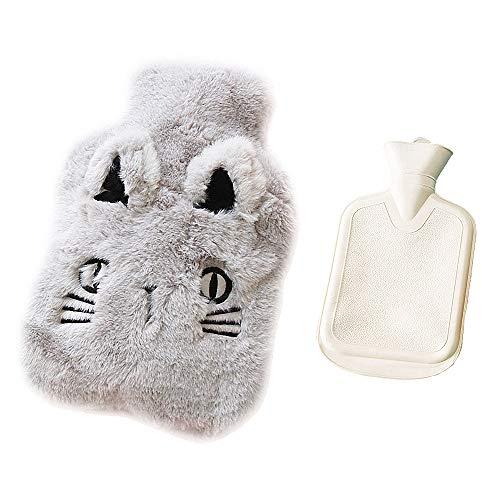 Drizzle borsa dell'acqua calda gomma premium serie animali con copertura in pile soffice (cat gray)