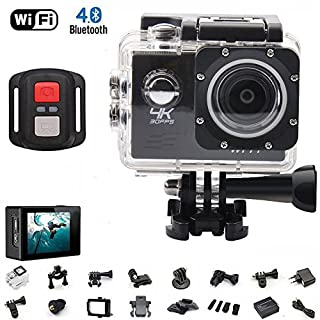 AUTOMATE 4K Sport Action Camera Ultra HD Camcorder 16MP WiFi Waterproof Camera 170 Degree Wide View Angle 2 Inch LCD Screen W/2.4G Remote Control Rechargeable Batteries 19 Accessories Kits