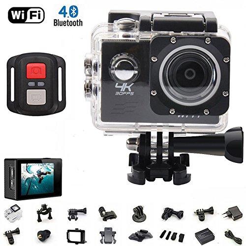 4K Sport Action Kamera Ultra HD Camcorder 16MP WIFI Wasserdichte Kamera 170Grad Weitwinkel 5,1cm LCD-Bildschirm w/2,4G Fernbedienung aufladbar Akkus 19Zubehör Kits